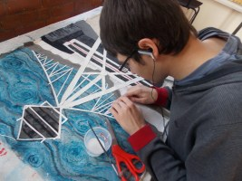 Creating a textile artwork of Reebok stadium