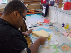 Young person card making